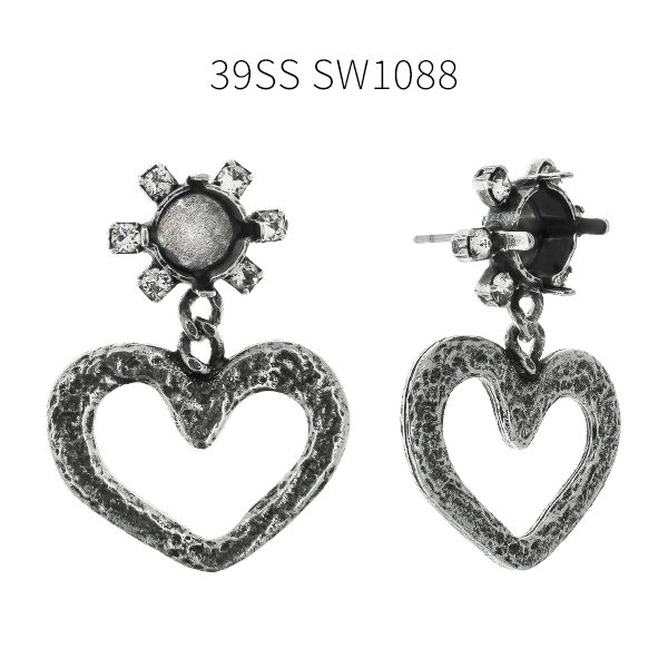 39ss stone setting with Rhinestones and heart shaped elements Stud earring bases