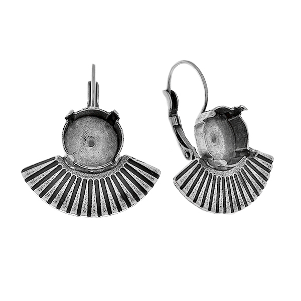 12mm Rivoli settings with metal casting bow elements Egypt style Lever back earring bases