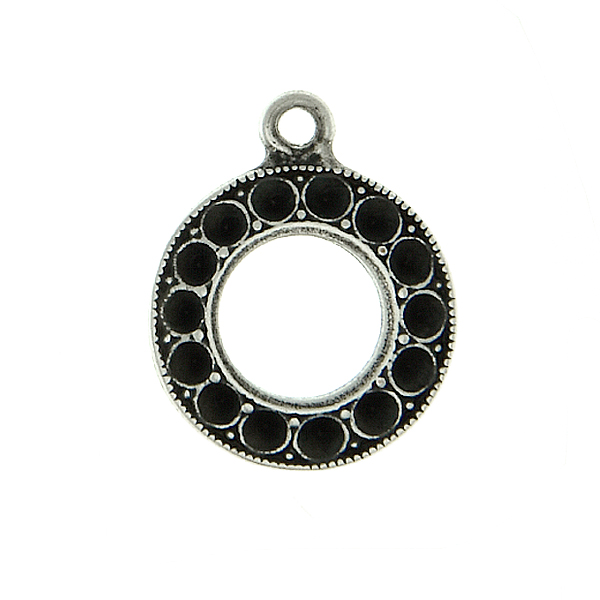 8pp Hollow Circle metal casting Pendant base with top loop