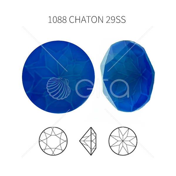 29ss/6mm Chaton 1088 Aurora Crystal Electric Blue