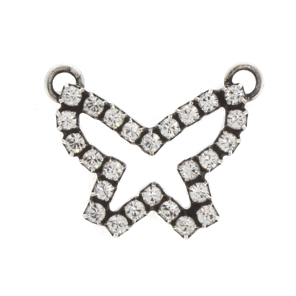 14pp Rhinestones Small Hollow Butterfly Pendant with 2 loops