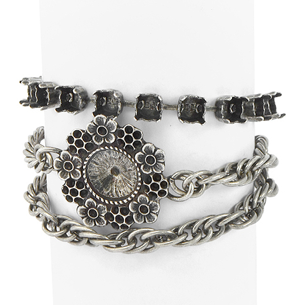 29ss, 8pp, 14pp, 12mm Rivoli setting with Rope chain Wrap Around Bracelet