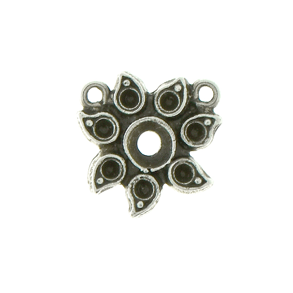 Metal casting Sunflower for 32pp and 8pp crystals Pendant base with two top loops