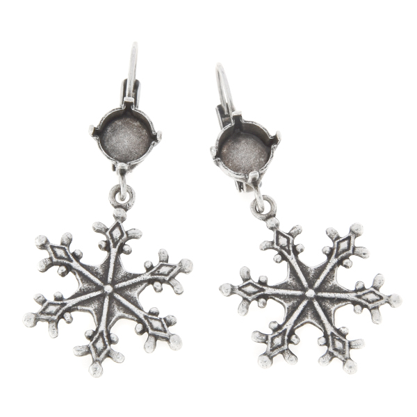 39ss with Stellar snowflake Lever back earring base