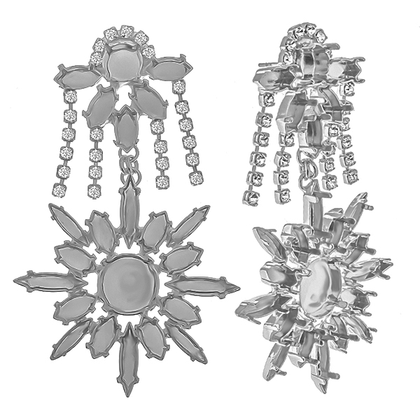 Stud Earring bases: Fancy Mix size settings with Rhinestones