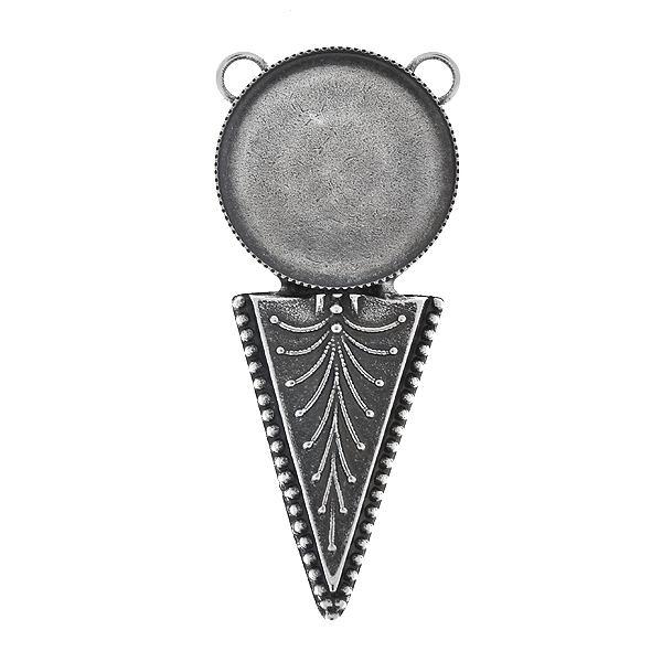 24mm Round flat back with ethnic inverted triangle pendant