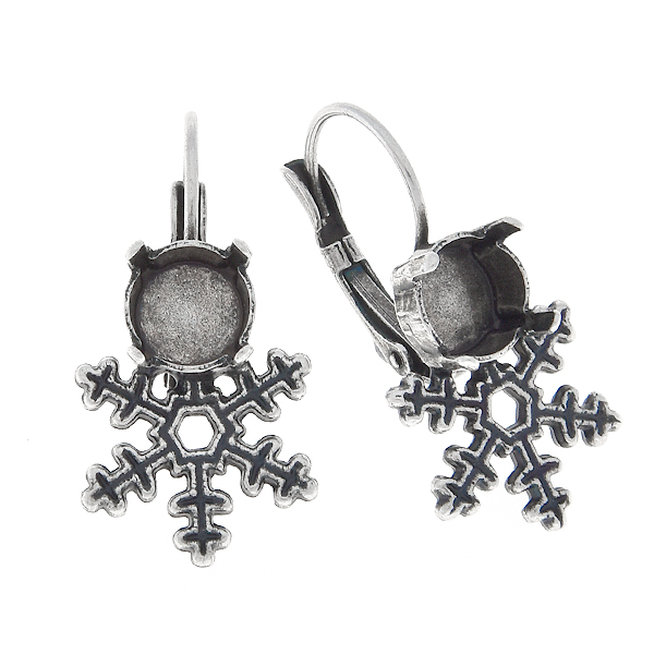 39ss stone settings with Classic Snowflake metal casting elements on Lever back Earring bases