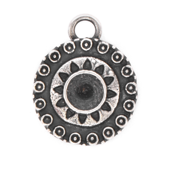 24ss Round Ethnic Pendant base with top loop