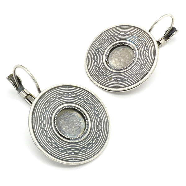 8mm Flat Back decorated round hanging earring base