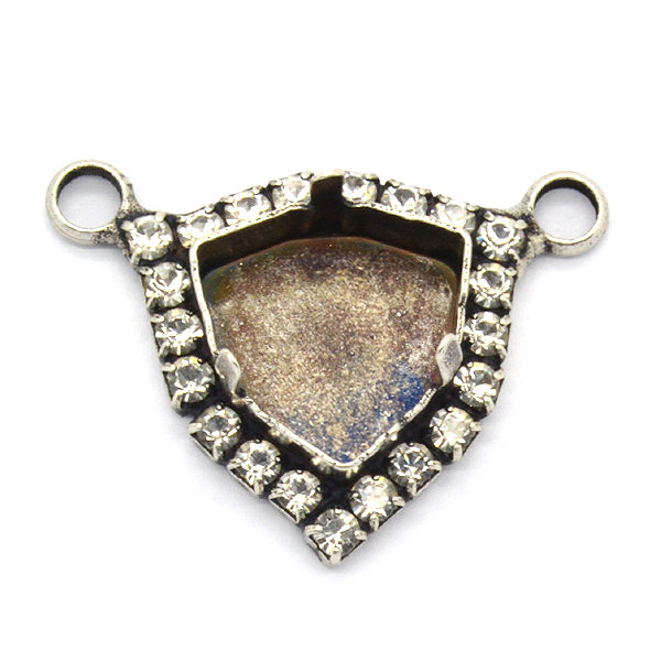 12mm Trilliant pendant base with Rhinestoness and 2 top loops