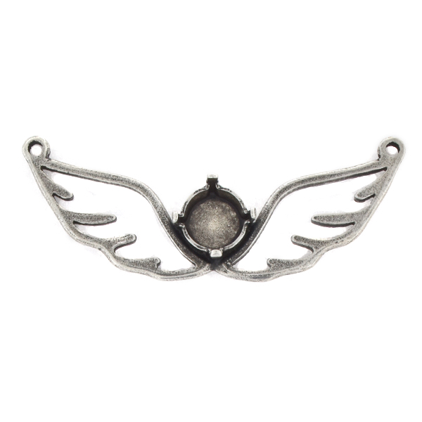 39ss Hollow Wings Pendant base with 2 loops