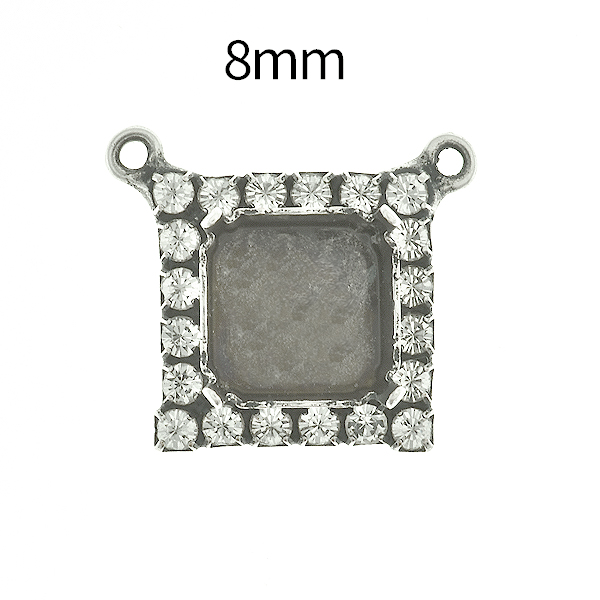 8mm Imperial  4480 Square Stone setting with Rhinestoness and two top loops