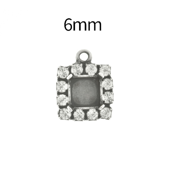 6mm Imperial  4480 Square Stone setting with Rhinestoness and one top loop