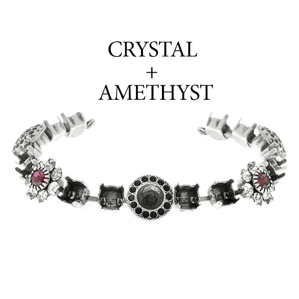 29ss cup chain and casting elements Bracelet base with Swarovski flower elements Amethyst color
