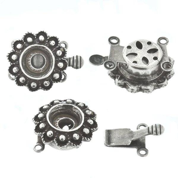 29ss Metal casting flower on Decorated Hidden Round Box Clasp