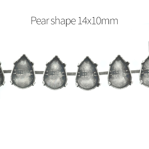 10x14mm Pear shape Cup chain for Bracelet - 1Meter