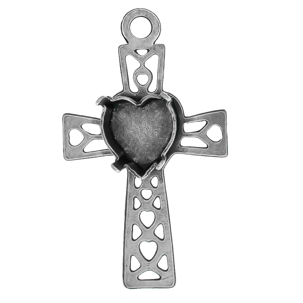 11x10mm Heart setting Filigree Latin Cross Pendant base with top loop