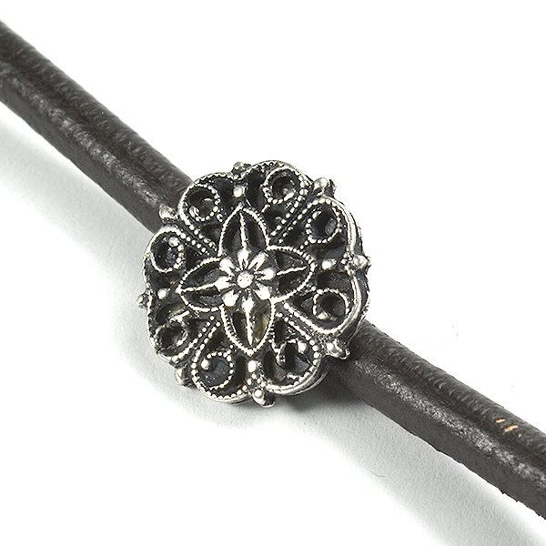Decorated filigree crimp element for 3mm chain or leather