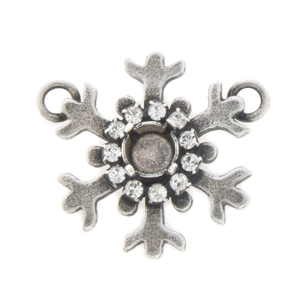 29ss Snowflake Pendant base with Rhinestones and two loops