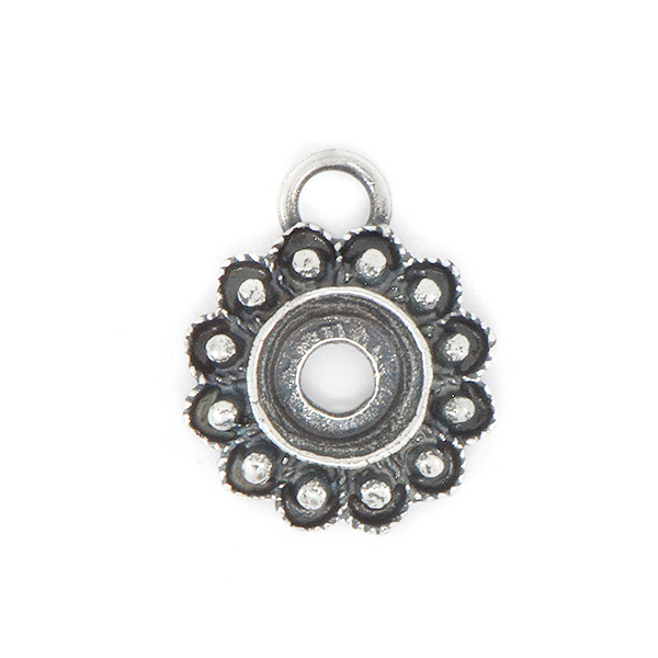29ss Decorated Flower Pendant base with top loop