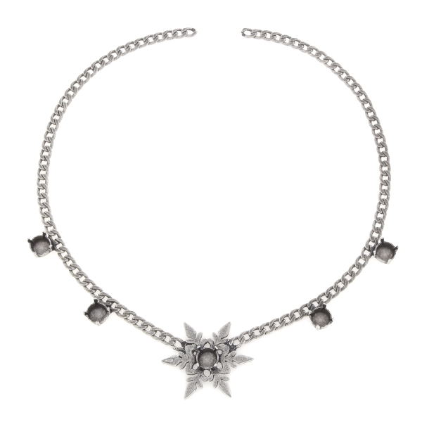 39ss Snowflake flat gourmette chain Necklace base