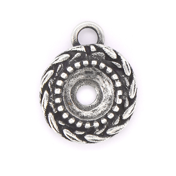 39ss Round Wheat Pendant base with top loop