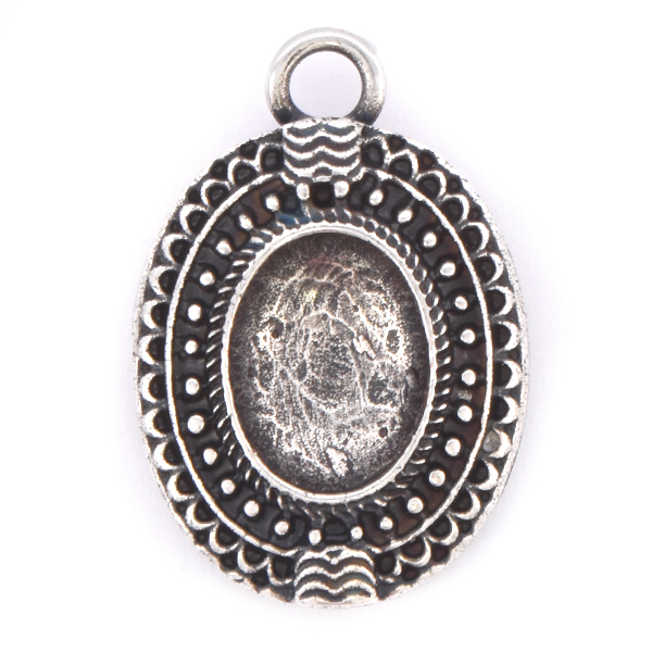 10x8mm Oval Ethnic Pendant base with top loop