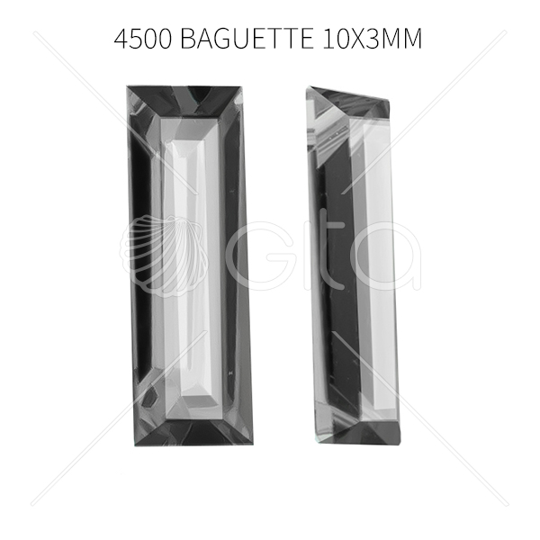 10x3mm Baguette 4500  Aurora Crystal Clear Crystals