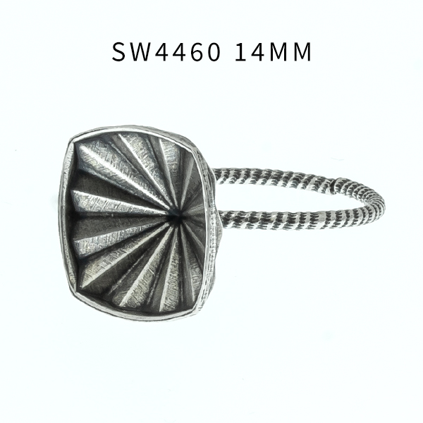 14mm Mystic Square 4460 faceted setting Adjustable ring base