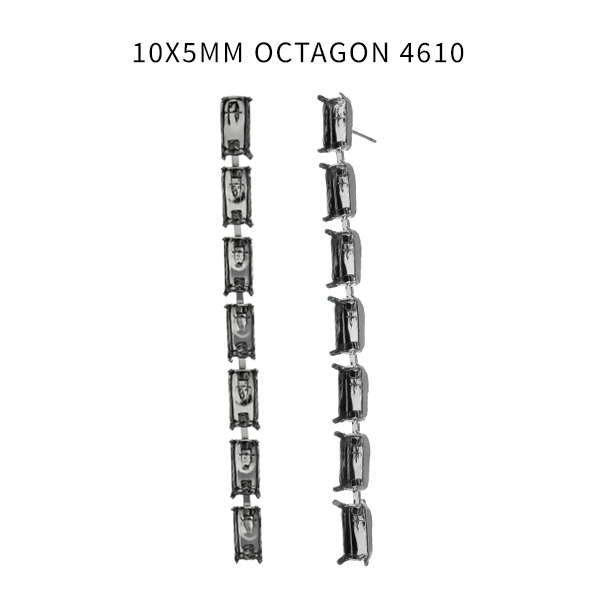 10x5mm Step Cut Octagon 4610 cup chain settings Stud earring bases