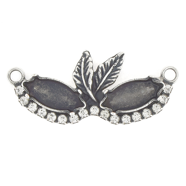 15x7mm Navette with Leaves and Rhinestones Mask Pendant base