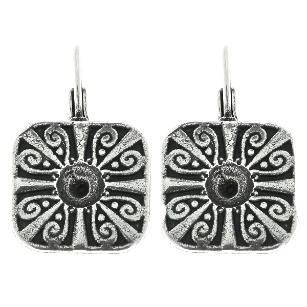 Metal casting Square Chinese ornament element for one 24ss crystals Lever back earring bases