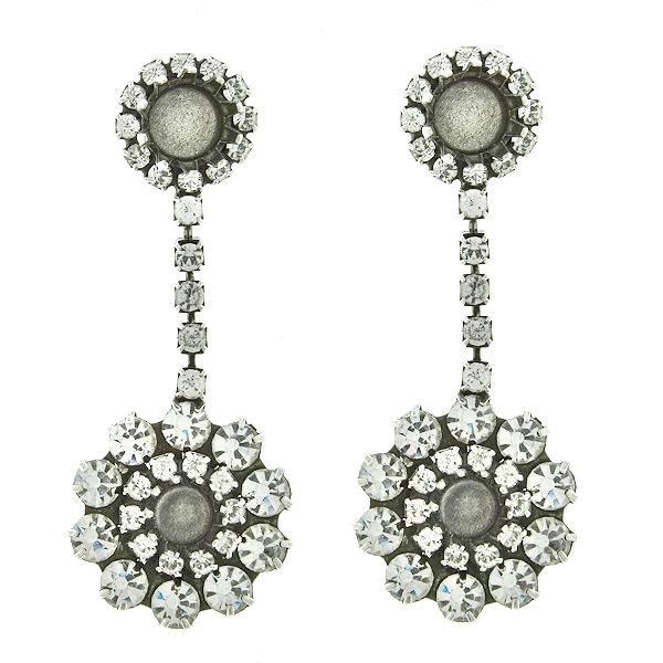 29ss, 39ss fancy Crystal color crown setting with Rhinestoness Stud Earring bases