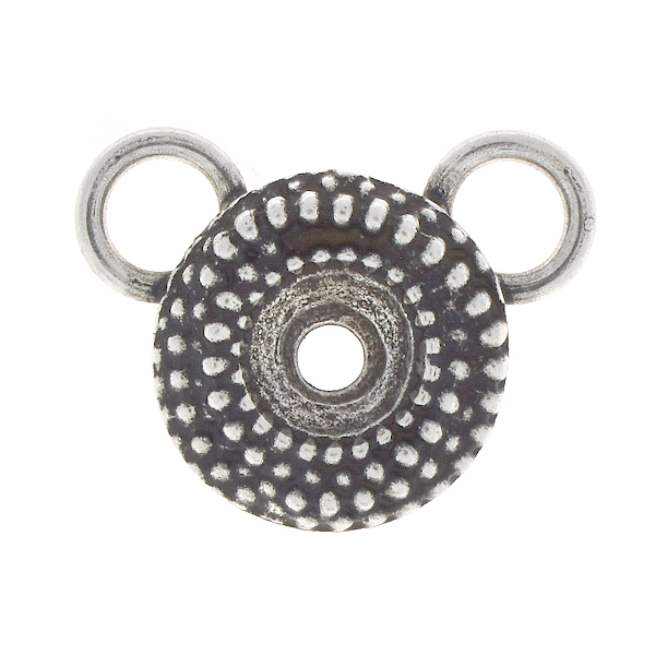 39ss Round Dotted Pendant base with two top 8mm loops
