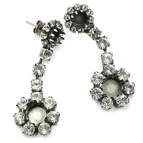 29ss and 39ss Crown settings long Hanging Earring base with rhinestone