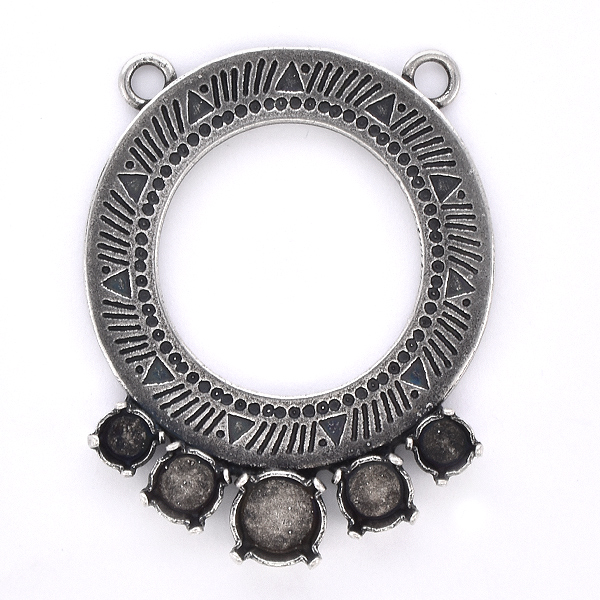 24ss, 29ss, 39ss Hollow Circle with Aztec Pattern Pendant