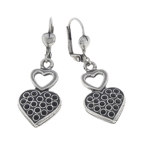 8pp Double hearts Lever back earring bases