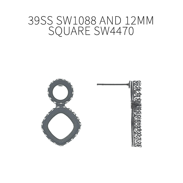 39ss, 12x12mm Square Crown Open back Stud Earring bases