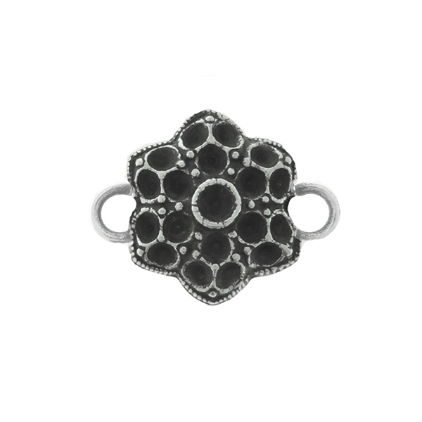 24pp, 18pp Middle Decorative Flower metal casting Connector base with two side loops