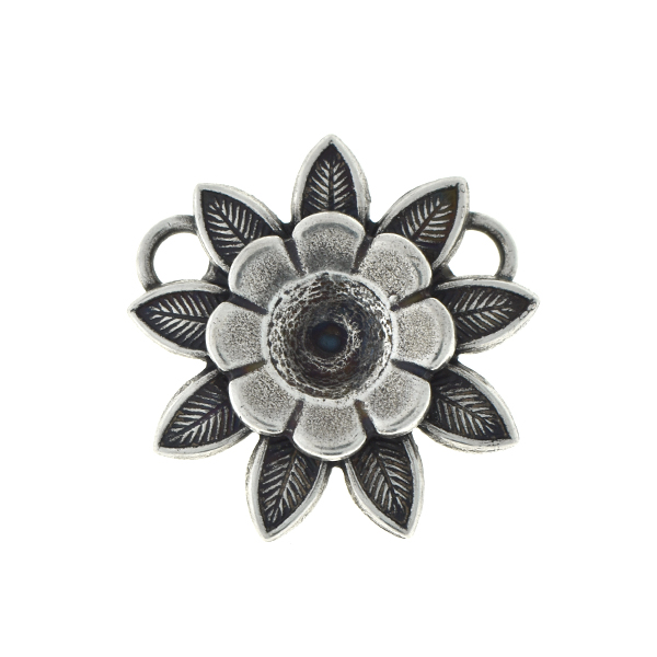 29ss flower pendant base with double petals and two top loops