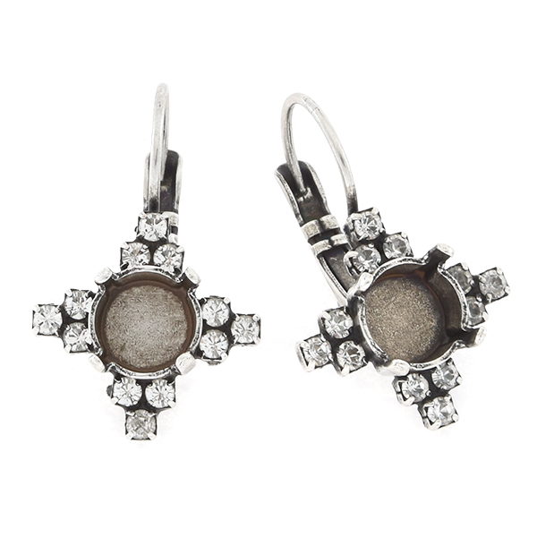39ss with 14pp Rhinestones Cross Lever back Earring base