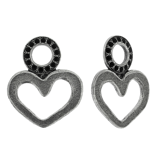 Heart shape and round metal casting element for 8pp Pendant base