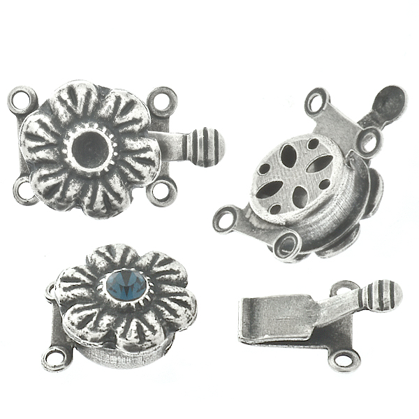 24pp Metal casting flower on Decorated Hidden Round Box Clasp