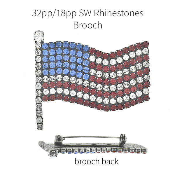 Flag of USA 18pp and 32pp Rhinestones brooch base