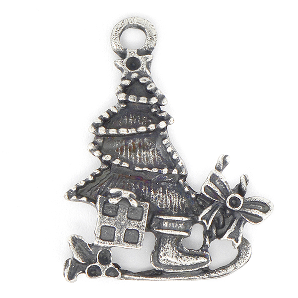 Christmas Tree on sled Pendant with top loop