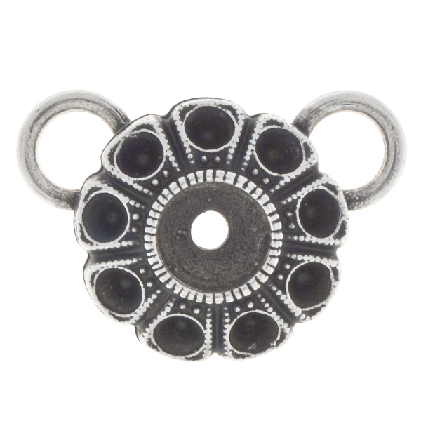 24pp, 29ss Flower pendant base with two top 8mm loops