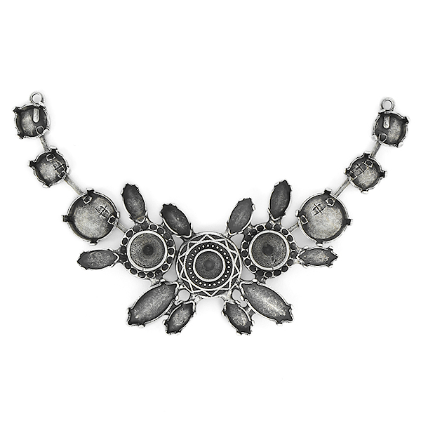8pp, 29ss, 39ss, 12mm Rivoli and Navette Centerpiece for Necklace