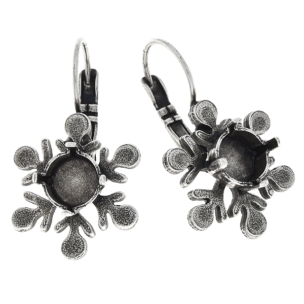 39ss Metal casting snowflake Lever back earring bases