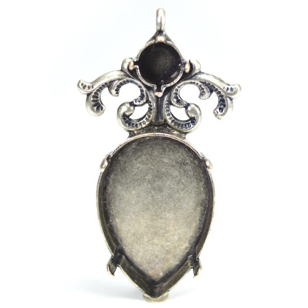 20-30mm Pear shape with 39ss and lace element pendant base