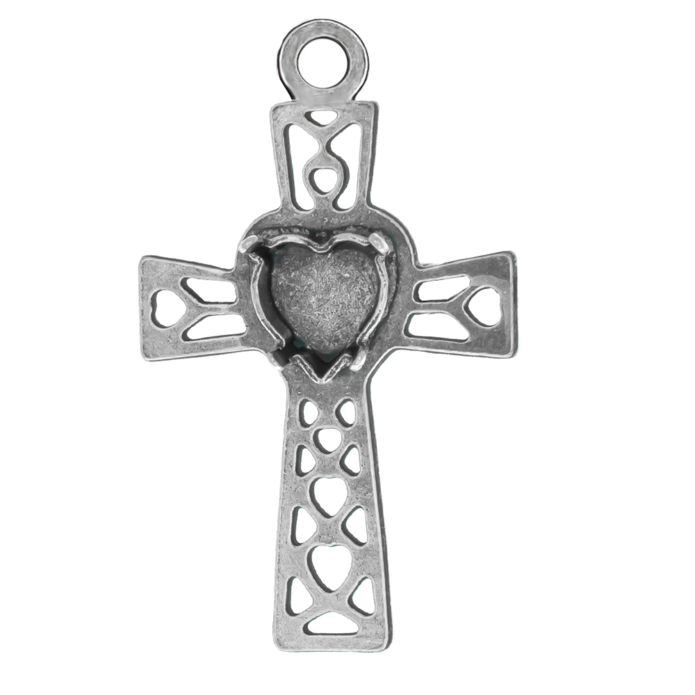 8x8.8mm Heart setting Filigree Latin Cross Pendant base with top loop
